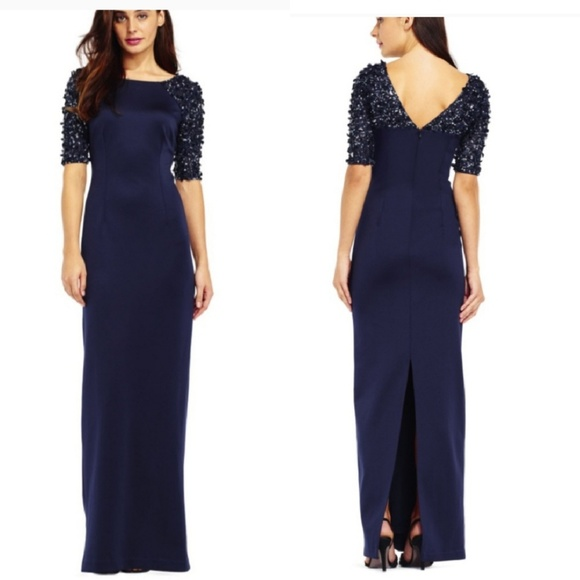 Adrianna Papell Dresses | Beaded Sequin Sleeve Gown | Poshmark